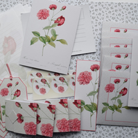 Boxed Rose Stationery Set Paper Envelopes Gift Tags Cards postcards Stickers etc