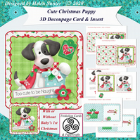 DIGITAL Card Making Kit Cute Christmas Puppy 3D Decoupage Card & Inserts Kit
