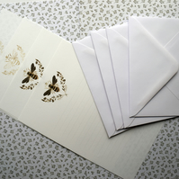 Queen Bee Stationery Set Black & Gold or Gold Bee Motifs 10 A5 sheets & 5 Envies
