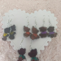 shrink plastic teddy bears earrings set of 4