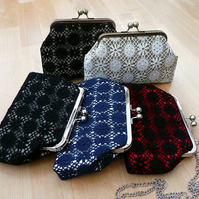 Clutch bag - Nottingham lace and silk evening bag in a choice of colours