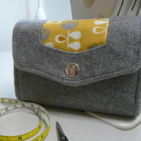Grey tweed and yellow cotton purse, NCW wallet, credit card holder, zip purse