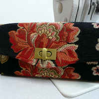 Floral wallet, NCW necessary clutch wallet, black and orange purse