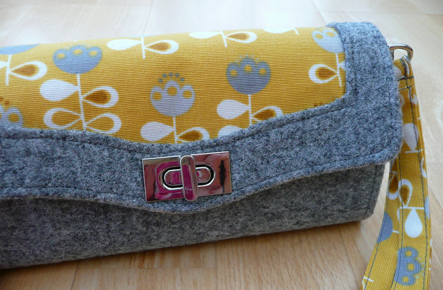 Grey and yellow ladies purse, NCW wallet, necessary clutch wallet, wristlet