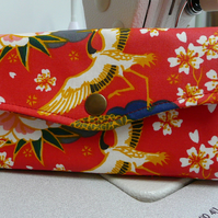 Japanese floral purse, oilcloth wallet, Teflon coated purse, ladies NCW purse,