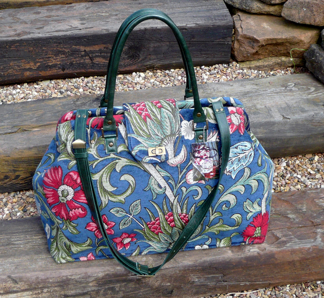 Victorian botanicle weekend bag, Mary Poppins bag, travel bag, overnight bag,