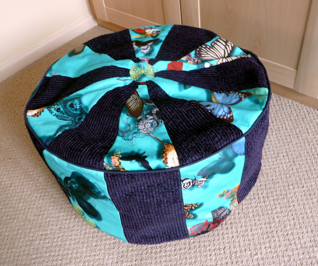 Pouffe, foot stool, bean bag, floor cushion, round patchwork pouffe