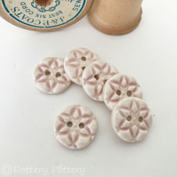 Set of six little pale pink coloured round ceramic handmade buttons