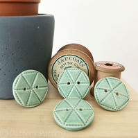 Set of four bright turquoise ceramic handmade buttons