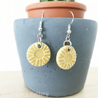 Handmade yellow ceramic disc earrings on sterling silver ear wires
