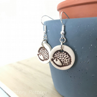 Handmade hedgehog ceramic disc earrings on sterling silver ear wires