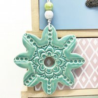 Ceramic flower hanging decoration Pottery Flower Folk art