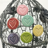 Set of six bright ceramic heart magnets pottery fridge magnet