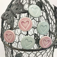 Set of six ceramic heart magnets pottery fridge magnet