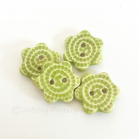 Set of four little green glazed flower shaped ceramic handmade buttons