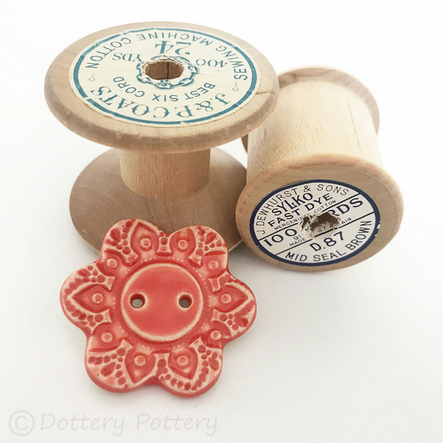 Large ceramic flower shaped button