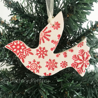 Snowy white dove (red) ceramic Christmas decoration