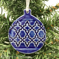 Pottery Bauble Christmas Decoration Royal Blue