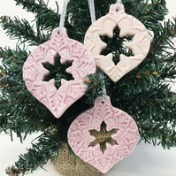Pink Christmas Baubles set of three pottery Bauble decorations Xmas decorations