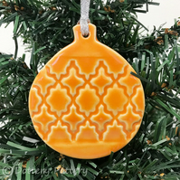 Pottery Bauble Christmas Decoration Orange