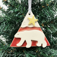 Ceramic polar bear decoration polar bear with a star Red