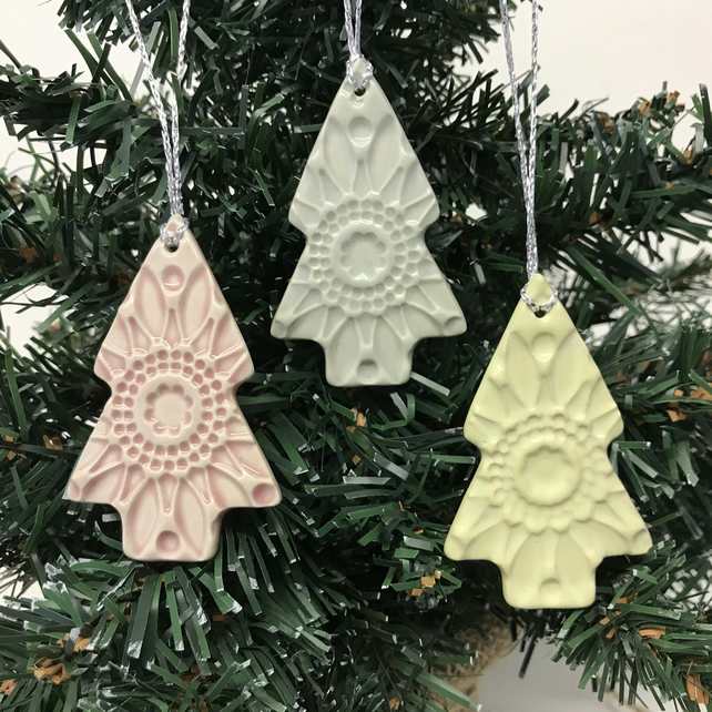 Pastel Christmas Trees set of three pottery decorations