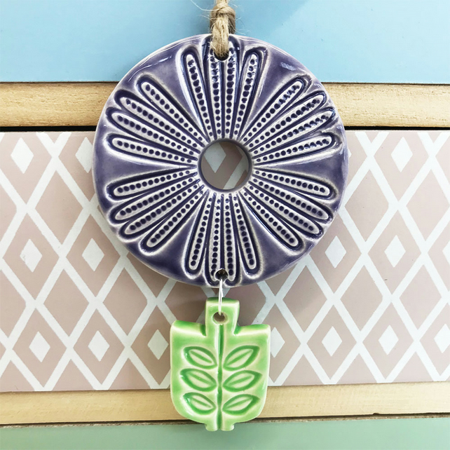 Retro style pottery hanging flower decoration purple