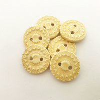 Set of six little handmade ceramic buttons yellow