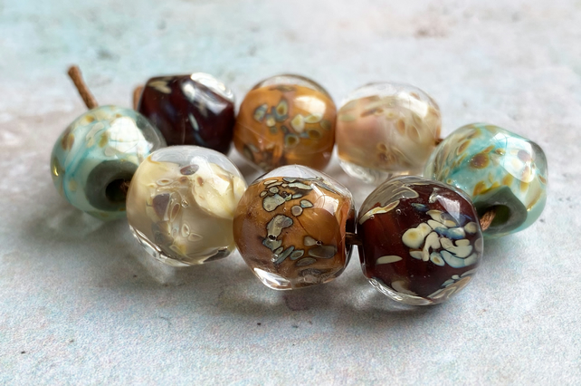 Encased Lampwork Autumn Nugget Beads.