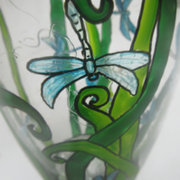 Glass Vase with hand painted dragonflies in amongst reeds