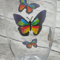 Glass Vase with hand painted butterflies rainbow colours