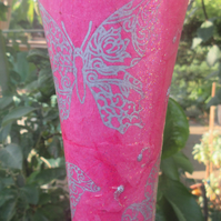 Glass Vase with decoupaged with pink handmade paper with butterflies in silver