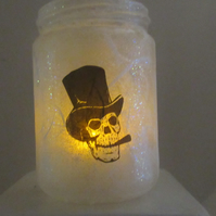 Glass Jar with skull in top hat smoking cigar - lights available