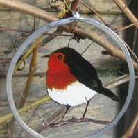 Suncatcher - Robin on branch - small