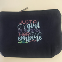 Make up bag embroidered  - Just a girl building her empire