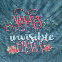 Teal embroidered make up toiletries bag Always wear your invisible crown