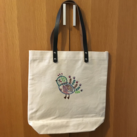Tote bag embroidered folk art animals