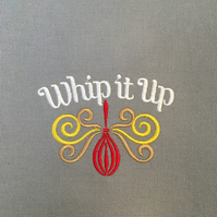 Tea towel embroidered - Whip it up
