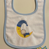 Blue  baby bib embroidered moon