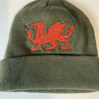 Beanie hat khaki  with Welsh Dragon