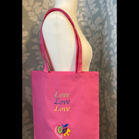 Tote bag embroidered pink hearts