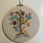 Woodland forest tree hand embroidered hoop art picture