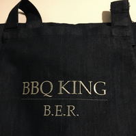 Personalised men's denim apron - BBQ King