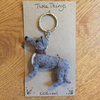 Wool felt Grey Hound Dog keyring