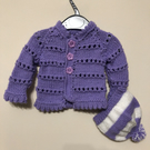 Cute new born Purple cardigan and hat
