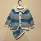 Blue stripe cardigan and hat