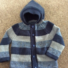 Denim blue stripe cardigan with pixie hood