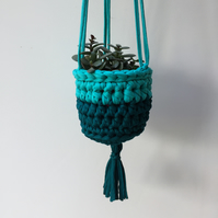 Crochet hanging planter - teal - free UK shipping