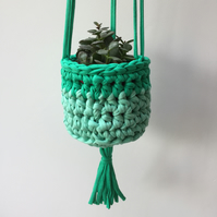 Crochet hanging planter - aqua and green - free UK shipping