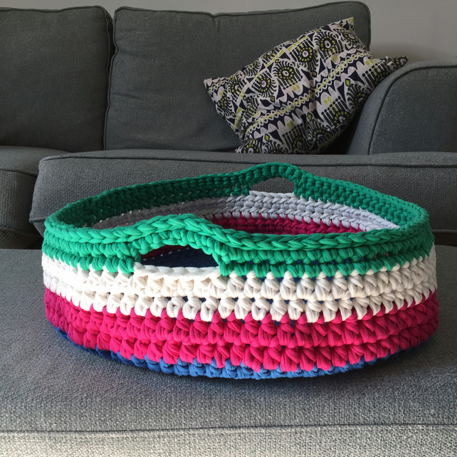 Crochet cat basket made with upcycled tshirt yarn